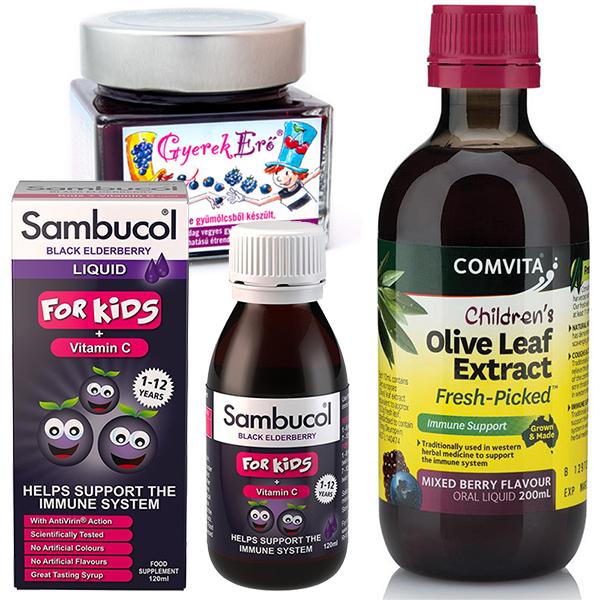 Sambucol Gyermek + Gyerkerő + Olajfalevél csomag