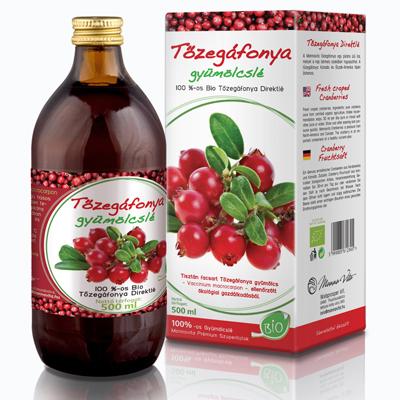 Tőzegáfonya gyümölcslé 100%-os Bio, 500 ml